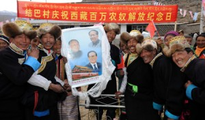 A totally spontaneous celebration by ethnic Tibetans unable to restrain their joy over the chance to participate in Serf Emancipation Day and thank their gracious Han saviors.